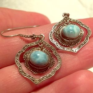 925 Silver Larimar Concentric circle earrings